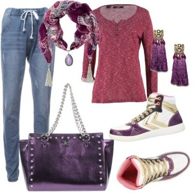 Outfit Casual in Viola