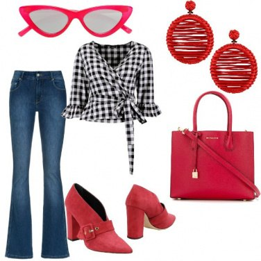Outfit Vichy denim e rouge