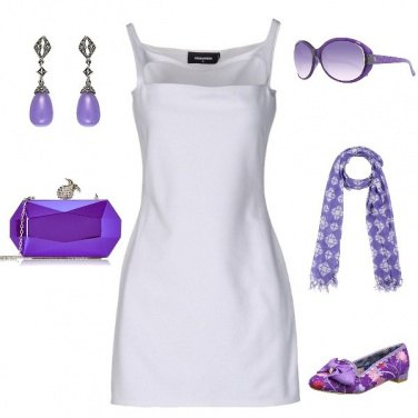 Outfit Viola+bianco chic