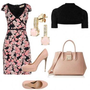 Outfit Cerimonia rosa nero e nude