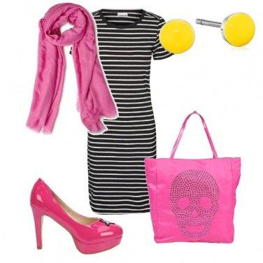 Outfit Rosa giallo e gighe