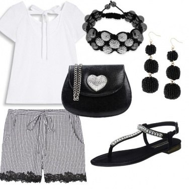 Outfit Black & White glitter