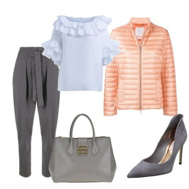 Outfit Pesca e grigio