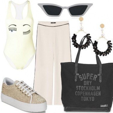 Outfit Trendy in bianco e oro