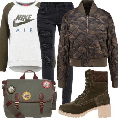 Outfit Il bomber mimetico