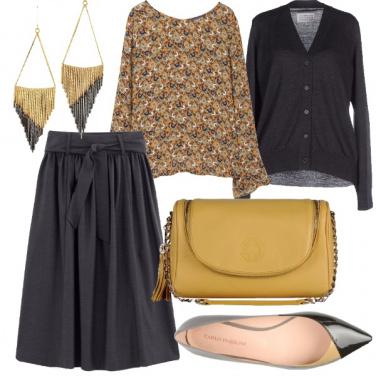 Outfit Chic in grigio e senape