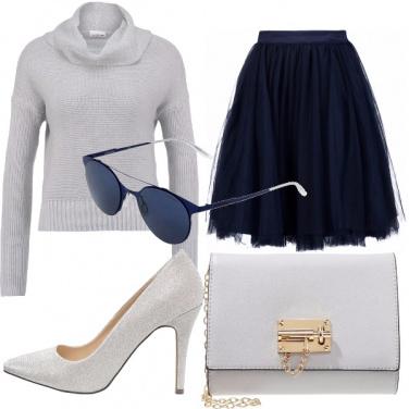 Outfit Grigio perla e blu notte