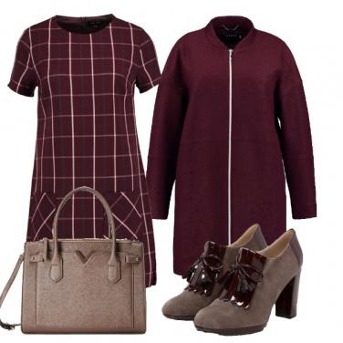 Outfit Quadri e burgundy