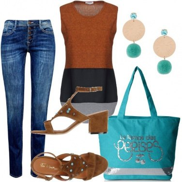 Outfit Marrone e turchese