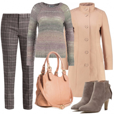 Outfit Cappotto rosa nude