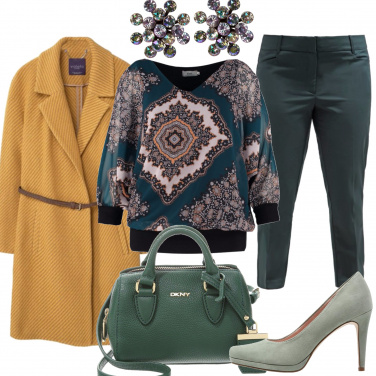 Outfit Cappotto curry