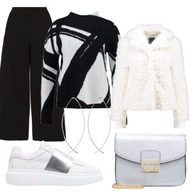 Outfit Bianco, nero e argento