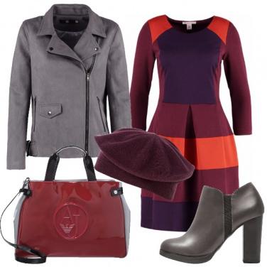 Outfit Grigio e borgogna