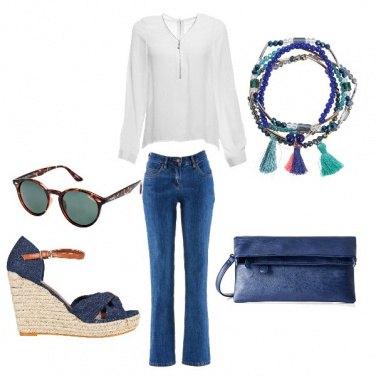 Come abbinare il jeans elasticizzato con ricamo blu: 46