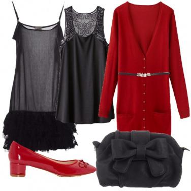Outfit Romanticismo in rosso e nero