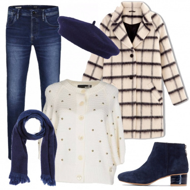 Outfit Crema e blu