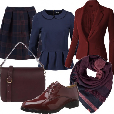 Outfit Navy e bordeaux