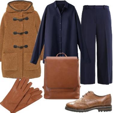 Outfit Cognac e blue
