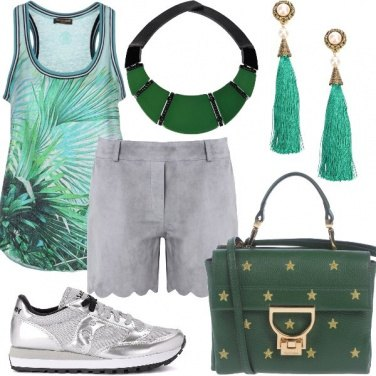 Outfit Casual in verde e argento