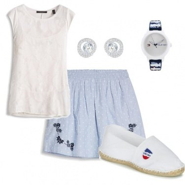Outfit Blue and white style