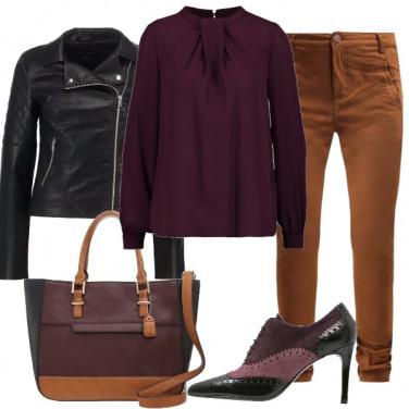 Outfit Cognac, viola & nero