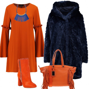 Outfit Pelliccia e frange