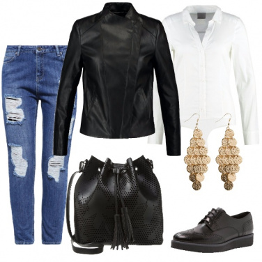 Outfit Jeans a vita alta