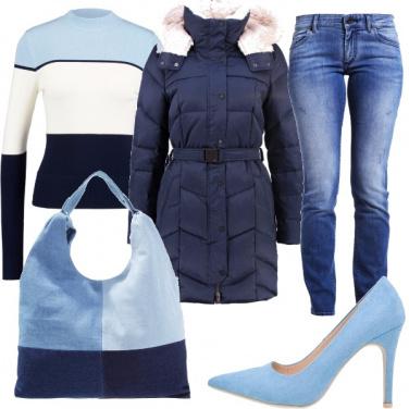 Outfit Tutti i toni del blu