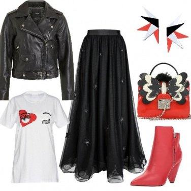 Outfit Rosso nero e rock
