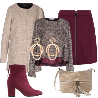 Outfit Burgundy e beige