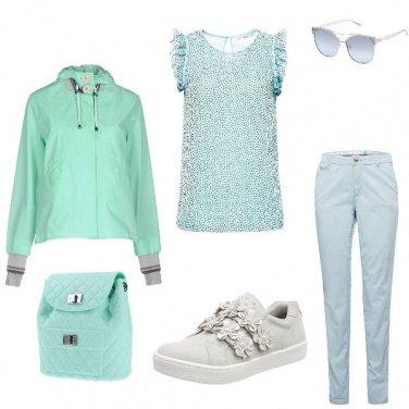 Outfit Verde menta e panna