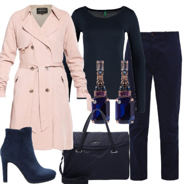 Outfit Trench e blu