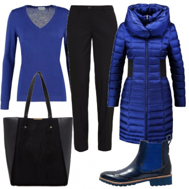 Outfit Piumino blu elettrico