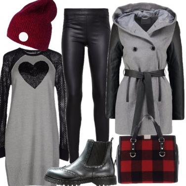 Outfit Cuore di paillettes e pelle