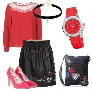 Outfit City red & black with flowers