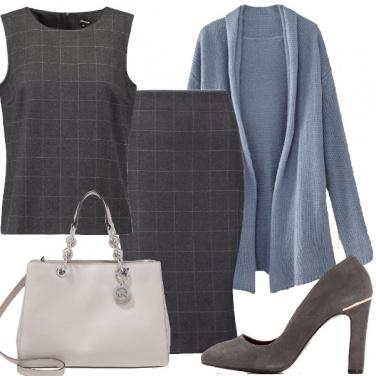 Outfit Celeste e grigio