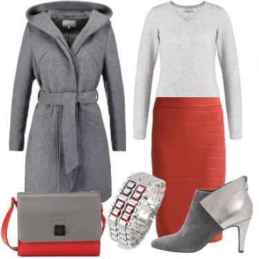 Outfit La mia gonna rosso corallo