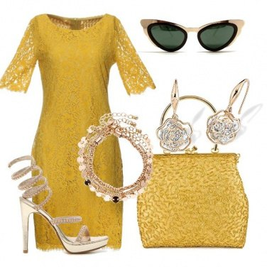 Outfit Total look woman in yellow & gold