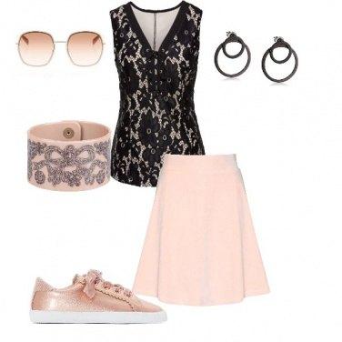 d5dec3e575fe Pizzo nero e rosa  outfit donna Trendy per serata fuori