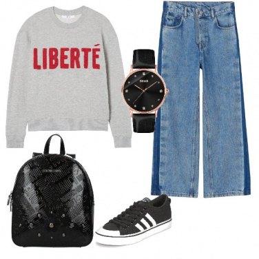 Outfit Felpa grigia