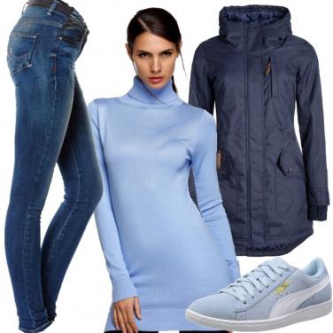 Outfit L\'aria si tinge di blu