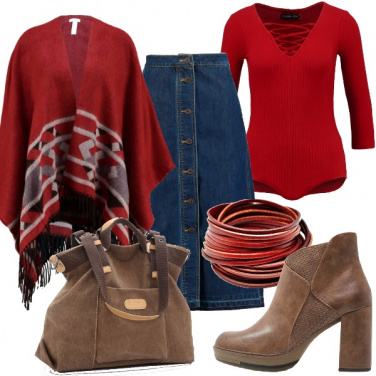 Outfit In rosso con la gonna in jeans