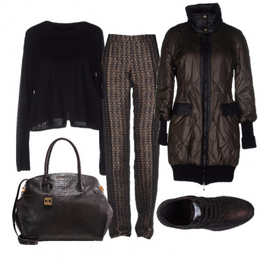 Outfit Chic in nero e marrone