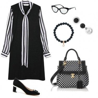 Outfit In ufficio in bianco e nero