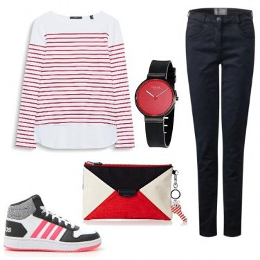 Outfit Bianco rosso e nero