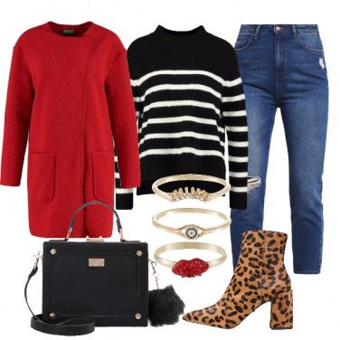 Outfit Cappotto rosso e stivaletti leopard