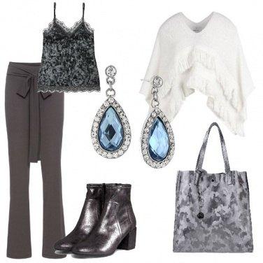 Outfit Canottiera pizzo e velluto