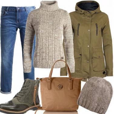 Outfit Modalità autunno, verde e beige