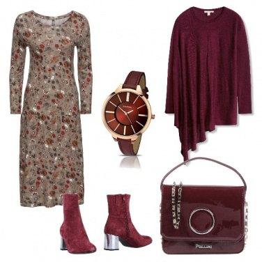 Outfit Bordeaux e fiori