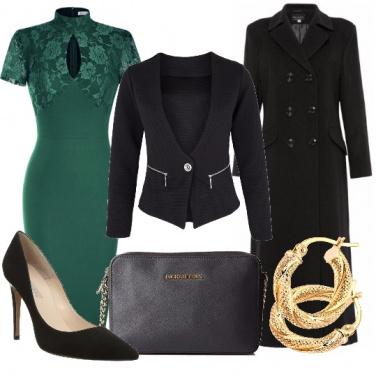 Outfit Nero e verde brillante